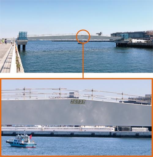横浜市みなとみらい21地区に建設中の女神橋。高さ3.5mの航路限界を確保した。2020年3月下旬に撮影(写真:日経クロステック)