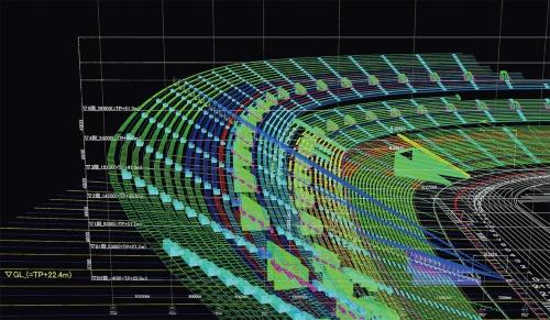 梓設計が独自開発した「BOWLプログラム」は、客席数や席間隔などの諸条件に応じて、全観客席からのサイトライン(可視線)を瞬時にシミュレーションできる(資料:梓設計)