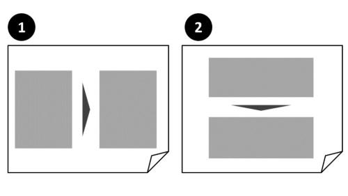 横方向(①)と縦方向(②)のそれぞれで、矢印(▼)を使って流れを表現した例