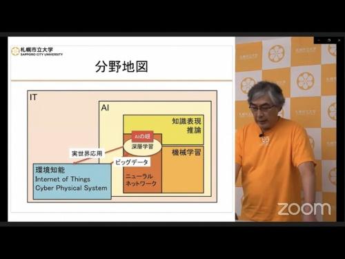 現在のAIの立ち位置を説明する中島学長