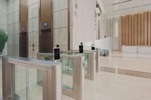 顔認証と検温を同時に実施するAI温度検知ソリューションをセキュリティーゲートに設置したイメージ(写真:日本コンピュータビジョン)