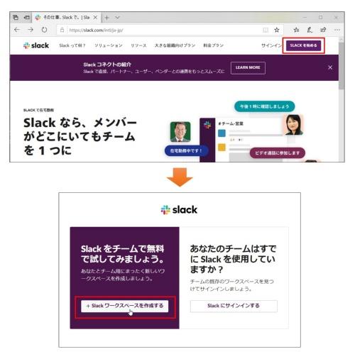 SlackのWebサイトで「SLACKを始める」をクリック