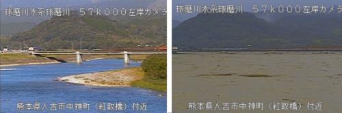 熊本県人吉市中神町(紅取橋)付近の球磨川の平常時(左の画像)と20年7月4日午前6時35分の様子(右の画像)。橋の橋脚がほとんど水に漬かっている。同日の夕方に付近の堤防が決壊した(資料:国土交通省八代河川国道事務所)