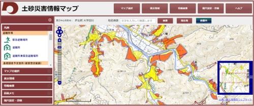 土砂災害警戒区域と土砂災害が起こった芦北町田川地区(中央の黒丸内)との位置関係。熊本県の資料に日経クロステックが加筆
