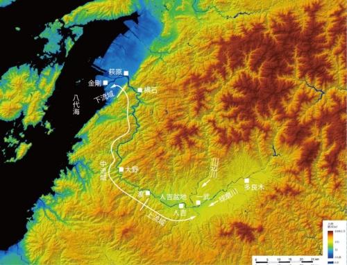 水位計の設置地点。国土地理院のデジタル標高地形図に日経クロステックが加筆