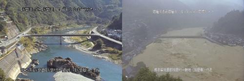渡観測所から5kmほど下流の球磨村役場付近を流れる球磨川の様子。左は平常時、右は7月4日午前8時前。両側に山が迫り、川沿いのわずかな土地に集落が散在する(写真:国土交通省)