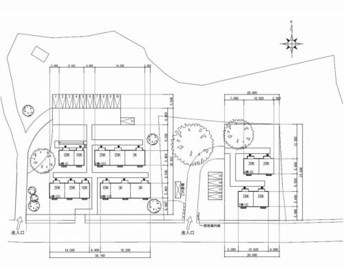 (仮称)人吉市人吉城跡仮設団地の配置図。1DK、2DK、3Kを組み合わせた計15戸からなる(資料:KKN)