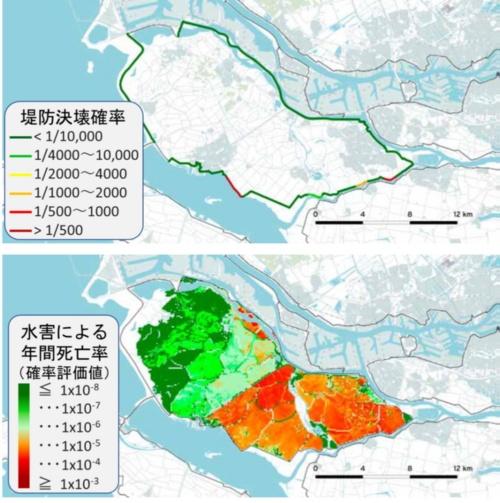 上の図は年間当たりの堤防の決壊確率。下の図は地点別の個人リスクを示した。改正水法に基づき2023年までに主要堤防の状態の評価結果を公共事業・水担当大臣から議会に対して報告することとされており、その結果上段の図にある主要堤防の決壊確率評価についても変更が加えられるものと考えられる(資料:Ronny Vergouwe (2016) National Flood Risk Analysis for the Netherlands, Rijkswaterstaat VNK Project Office)