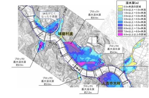 人吉市下流部から球磨村にかけての「令和2年7月豪雨」による浸水実績の速報値。洪水痕跡調査などにより浸水区域や浸水深を推定している(資料:第1回令和2年7月球磨川豪雨検証委員会説明資料、国土交通省九州地方整備局・熊本県、20年8月25日をベースに地名を追記するなど筆者が一部加工)
