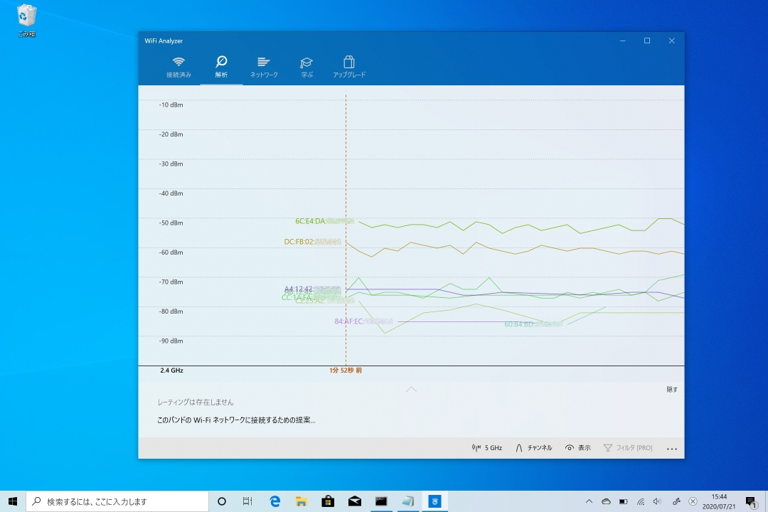 「WiFi Analyzer」は、一定時間おきに周囲の電波状況を測定し、折れ線グラフで表す機能がある。時間経過による電波状況の変化を把握できるので便利