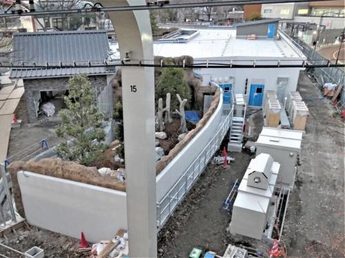 現パンダ舎がある上野動物園の東園と新パンダ舎ができる西園とをつなぐ「いそっぷ橋」から、新パンダ舎の工事現場を見下ろす。写真左手に端が反った中国風の屋根が見える。右手の白い建物に竹庫などがある。2020年1月2日撮影(写真:中川 美帆)