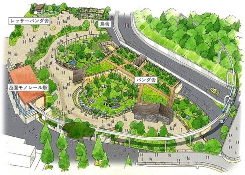 新パンダ舎を含む「パンダのふるさとゾーン(仮称)」の完成予想図(2018年6月時点)。中央やや右手前に中国風の屋根が見える。屋根の下は「屋内放飼場2」と「屋内放飼場3」の観覧通路になっている(資料:東京都)