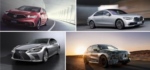 ホンダは高級セダン「レジェンド」の新型車で、ドイツDaimler(ダイムラー)は高級セダン「Sクラス」の新型車でそれぞれレベル3に対応する方針。他方、ドイツBMWは「iNEXT」で対応する予定という。トヨタ自動車は未発表だが、高級セダン「レクサスLS」の新型車でレベル3を見据えていると考えられる。写真は左上が現行のレジェンド。右上は現行のSクラス。右下はiNEXT。左下は新型のレクサスLS(出所:トヨタ自動車、ホンダ、BMW、Daimler)