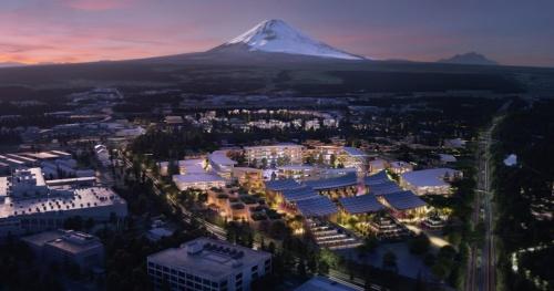 トヨタ自動車が静岡県裾野市に建を予定しているスマートシティー「Woven City」(ウーブン・シティ)。「富士山の日」にちなんだ21年2月23日に着工する方針(出所:トヨタ自動車)