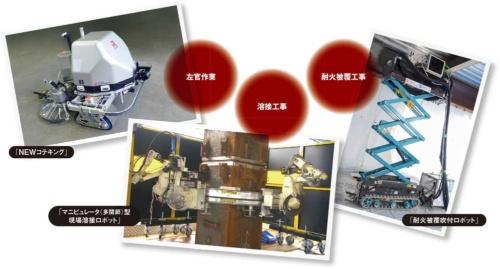 鹿島建設が機械メーカーなどと共同開発する建設ロボットの例