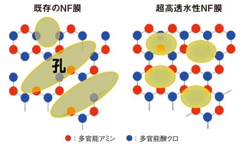 図5 既存NF膜と超高透水性NF膜の孔径比較