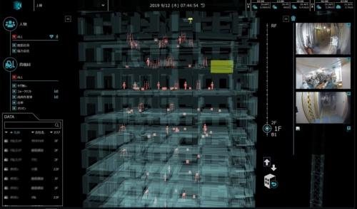 鹿島の資機材位置・稼働モニタリングシステム「3D K-Field」の表示例(資料:鹿島)