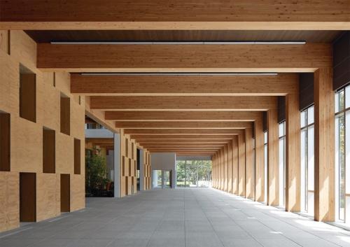 1階エントランスに隣接するギャラリーは、奥行き7.2m、間口31mの大空間。インナーコートヤードとの間に、市松状のLVLブロック耐力壁が立つ。全館避難安全検証の大臣認定により内装制限を緩和し、カラマツ集成材の梁や、CLTの天井を現しとしている(写真:住友林業)