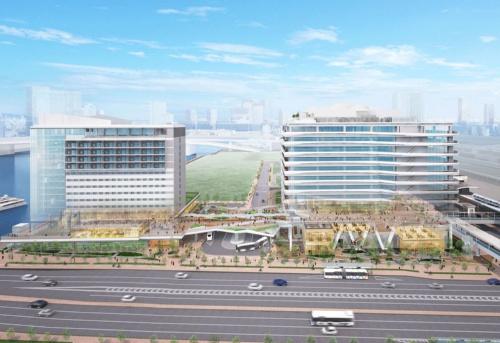 清水建設が手掛ける「豊洲MiCHiの駅」の整備イメージ。同社が豊洲市場の近くで開発するホテル棟(左)とオフィス棟(右)の間にバスターミナルなどを配置する(資料:清水建設)