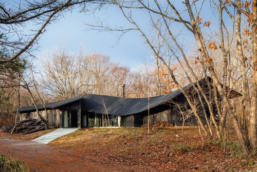うねるような形をした大屋根が森の中に突如現れる。屋根の色は黒、外壁も焼きスギ張りの焦げた黒で統一した。自然に溶け込むように、色を抑えている(写真:吉田誠)
