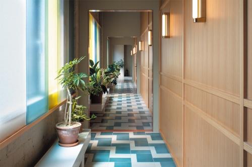 「K5」4階の廊下。軽やかな内装と重厚な建築の対比を強調し、施設全体にグリーンを配している(写真:山本 育憲)