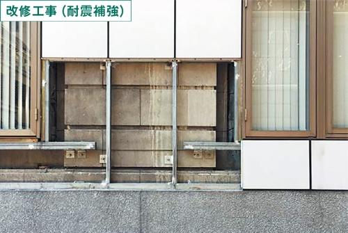 改修工事では外壁を覆っていた改装用のパネルを下地ごと撤去(写真:平和不動産)