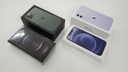 有線イヤホンと充電用ACアダプターが付属しなくなり、箱の高さが「iPhone 11」シリーズに比べて約半分になった