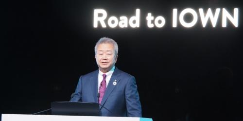 自社の研究開発イベント「NTT R&Dフォーラム2020 Connect」でIOWN構想について講演するNTTの澤田純社長