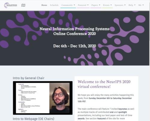 NeurIPS 2020のイベントページ。カナダのバンクーバーで開催予定だったが、新型コロナウイルスの感染拡大に対応し、完全オンラインでの開催だった