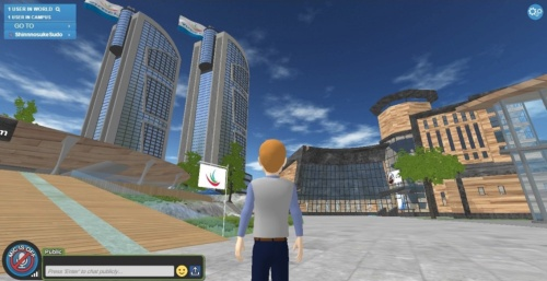 仮想オフィスサービス「Synergy Global 4U」の画面例。広大な仮想世界の中に設置したオフィスで勤務できる