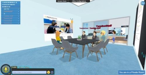 Synergy Global 4Uでは会議室に設置したスクリーン(中央)に資料などを投映できる