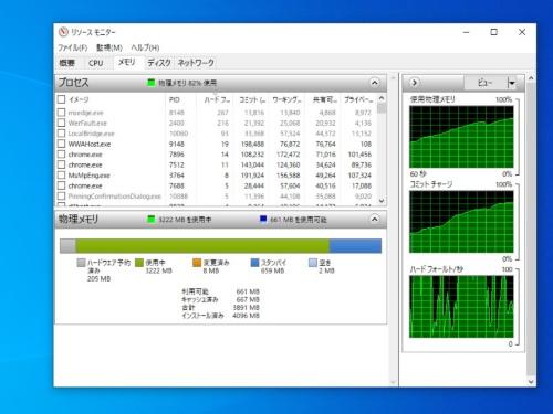 リソースモニターで「メモリ」タブを開き、「ハードフォールト/秒」のグラフを確認してみよう