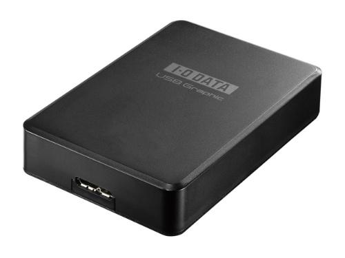 映像出力ポートがないパソコンは、USBグラフィックアダプターを使えば、マルチディスプレー環境を構築できる。こうしたアダプターは3画面以上の環境を構築するときにも便利だ。写真はアイ・オー・データ機器の「USB-RGB3/H」。量販店での実勢価格は6830円(税込み)