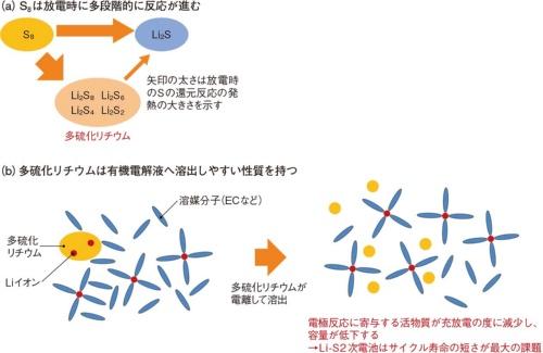 図5 反応中間体である多硫化リチウムが電解液に溶けやすく、Li-S2次電池は寿命が短い