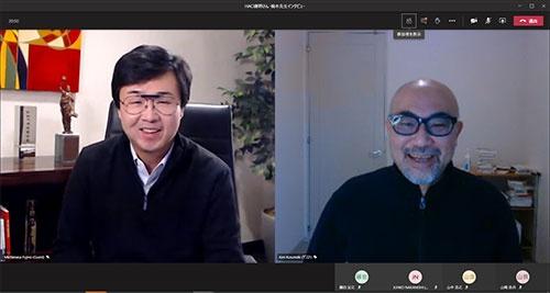 オンラインで対談する藤野氏(左)と楠木氏