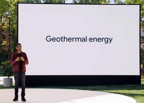 地熱発電システムの導入を「Google I/O 2021」の基調講演で語るピチャイ氏