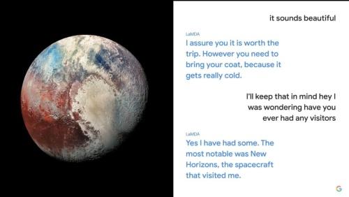 LaMDAを使い、冥王星と会話するデモを見せた