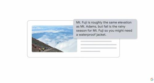 MUMを使い、富士山への登山準備に関する質問をした場合の検索結果のイメージ