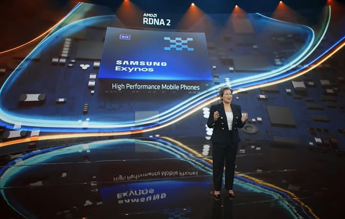 Samsungのスマートフォン向けSoCの次世代品にAMD RDNA 2のGPUコアが集積される President and CEOのLisa Su氏がアピール。(出所:COMPUTEX TAIPEI 2021の基調講演ビデオからキャプチャー)