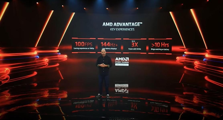 AMDが認定する高性能ゲーミングノートPCブランド「AMD Advantage」に求められる仕様の一部 Frank Azor氏が説明した。(出所:COMPUTEX TAIPEI 2021の基調講演ビデオからキャプチャー)