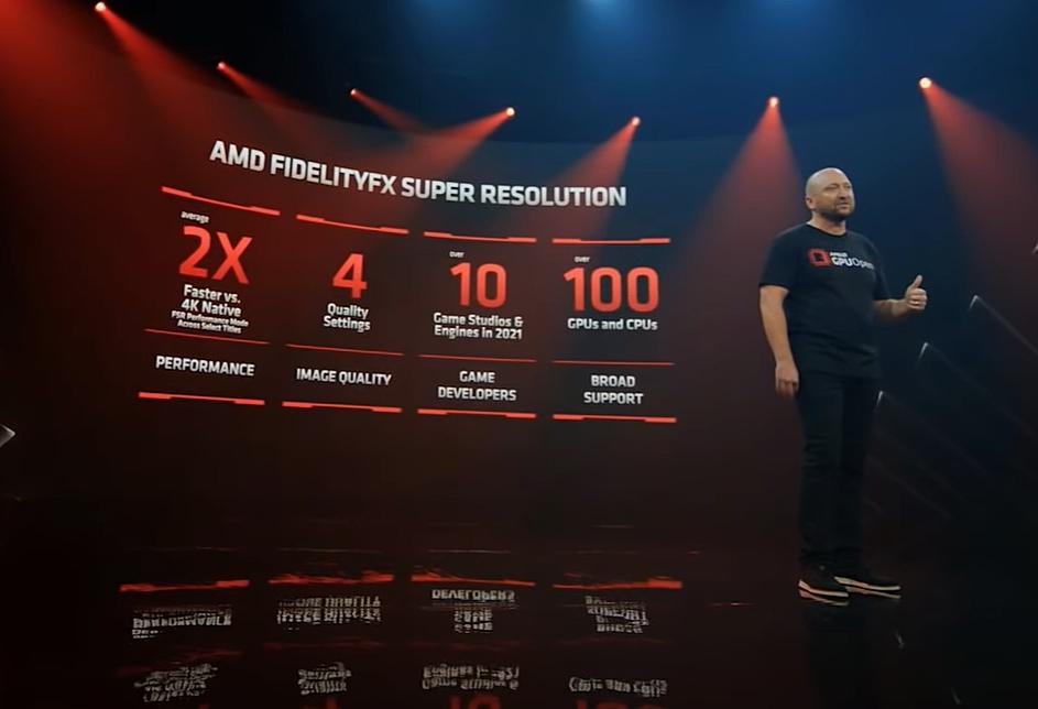 「AMD FidelityFX Super Resolution」技術の概要 Scott Herkelman氏が説明した。(出所:COMPUTEX TAIPEI 2021の基調講演ビデオからキャプチャー)