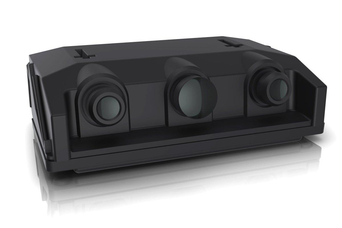 図2 ZFの3眼カメラ 検知距離の異なる3台のカメラを搭載する。1個のEyeQ4で3台のカメラ映像を同時に処理する。(出所:ZF)