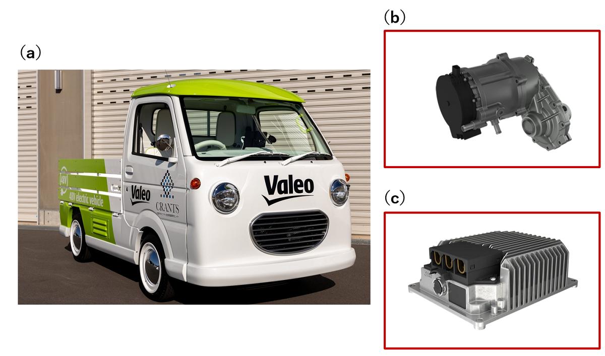 図1 Valeoと群馬大学が共同開発したEV仕様の試作軽トラック (a)車両外観、(b)駆動用モーター機構、(c)DC-DCコンバーター。(出所:ヴァレオジャパン)