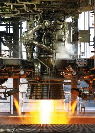 図 LE-9実機型エンジンの燃焼試験
