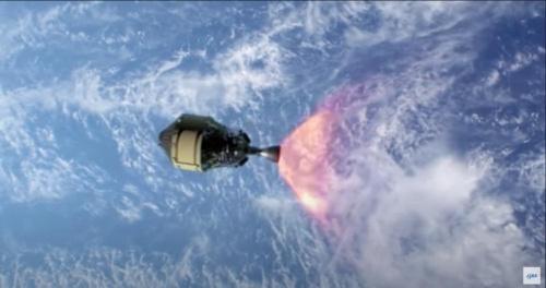 第2段が姿勢を制御して逆噴射し、大気圏に再突入(出所:JAXA)