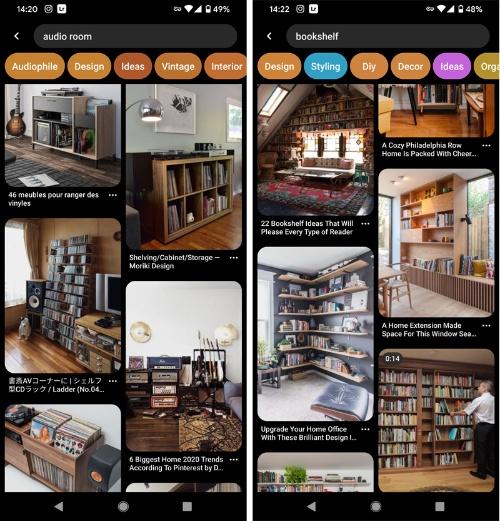Pinterestの検索結果。こんな感じで部屋のイメージを探せる