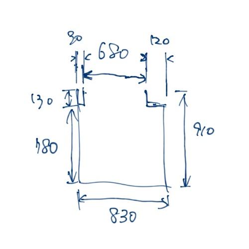 サーバールームのサイズを書き出した落書き。この図では上が扉側となる