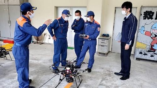 愛媛県が実施したドローンによる被災状況把握訓練の様子