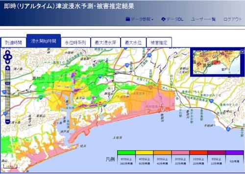 スーパーコンピューターを使った津波被害のシミュレーション結果例