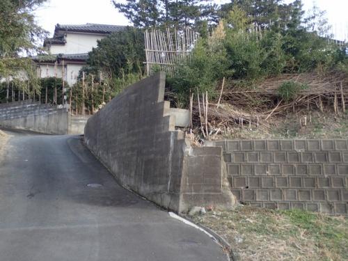 相馬市尾浜地区にある宅地の建築ブロック積みの不適格擁壁。以前から擁壁表面に生じていたと思われる亀裂がある。今回の地震で亀裂が変状した様子は佐藤技師長の目視では確認できなかった。2021年2月14日に撮影(写真:佐藤 真吾)